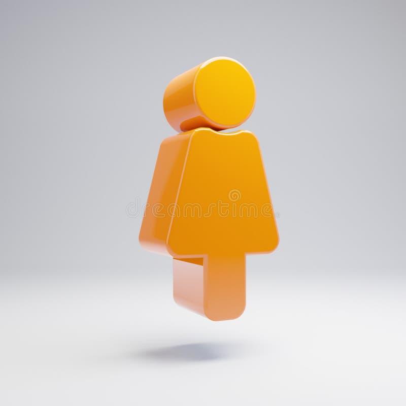 在白色背景的容量光滑的热的橙色女性象 库存例证