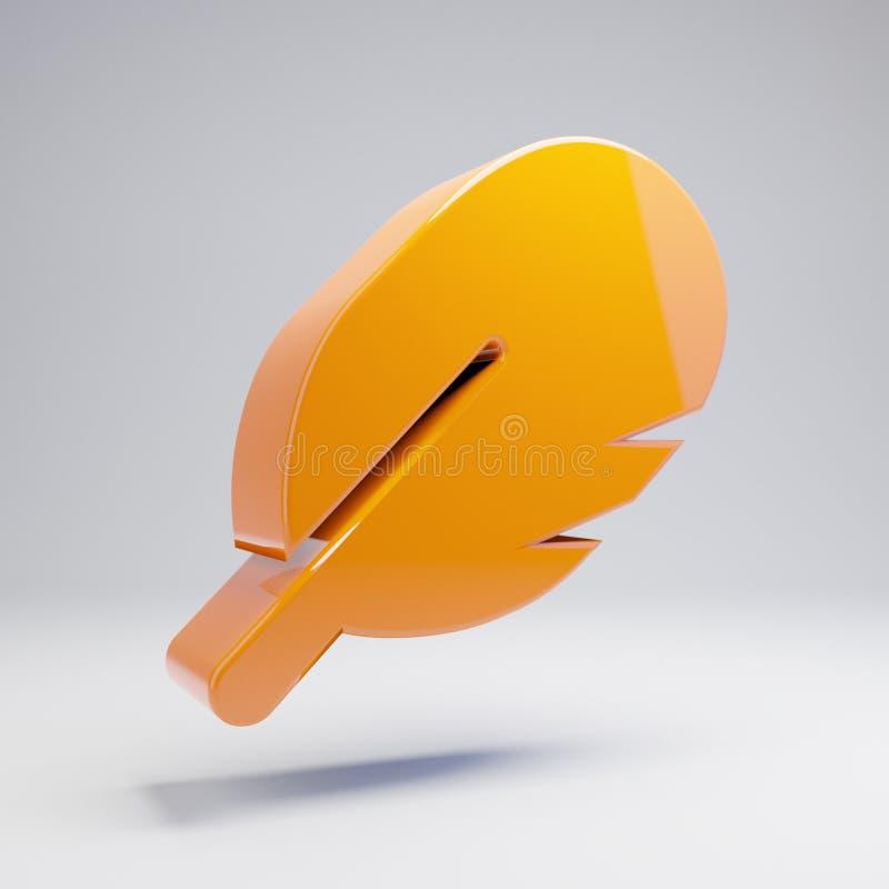 在白色背景的容量光滑的热的橙色羽毛象 皇族释放例证
