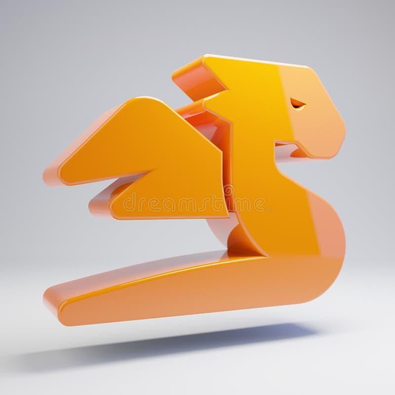在白色背景的容量光滑的热的橙色龙象 向量例证