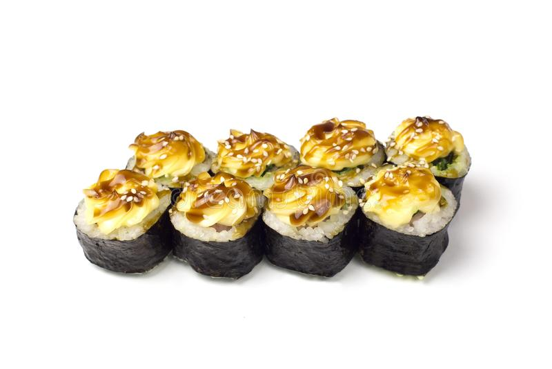 在白色背景的寿司卷 免版税库存图片