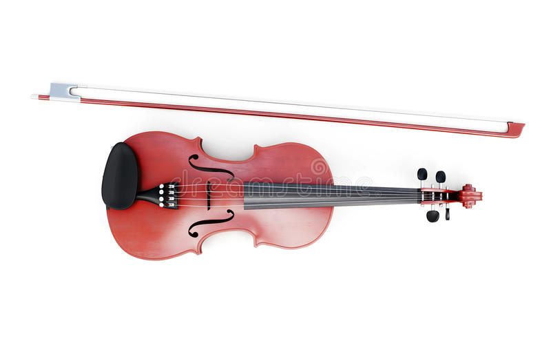 在白色背景的小提琴顶视图 3d翻译 免版税库存照片