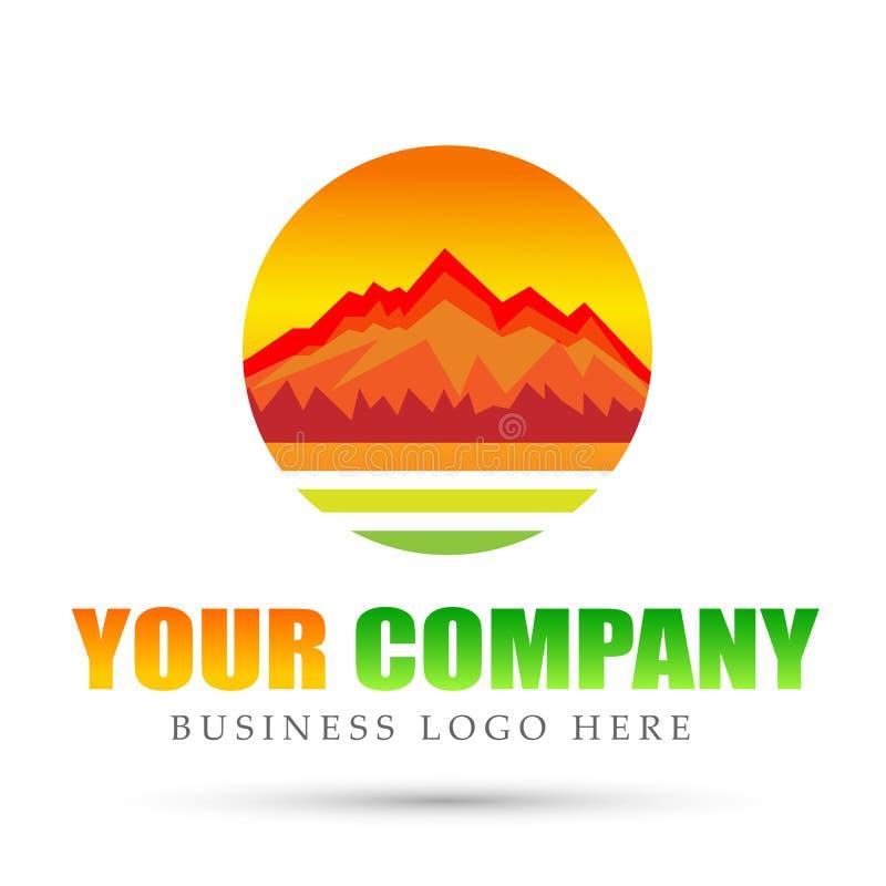 在白色背景的山脉海热带温暖的登上商标圈子象标志商标设计 皇族释放例证