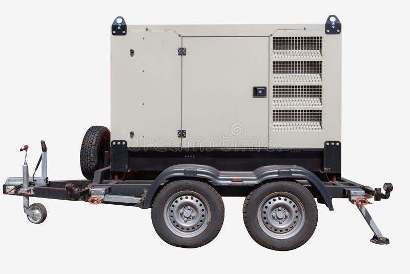 在白色背景的工业柴油发电器 免版税库存图片