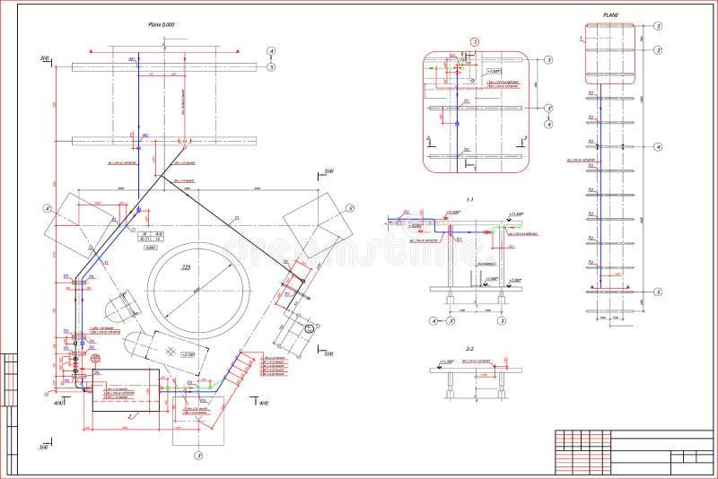 在白色背景的工程图 皇族释放例证