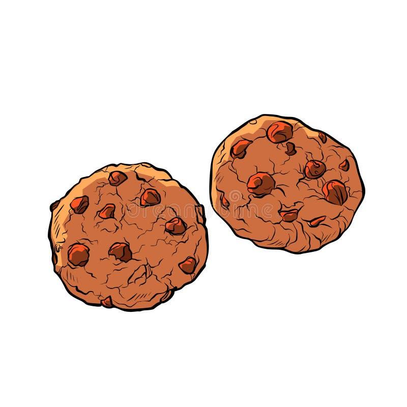 在白色背景的巧克力曲奇饼孤立 向量例证