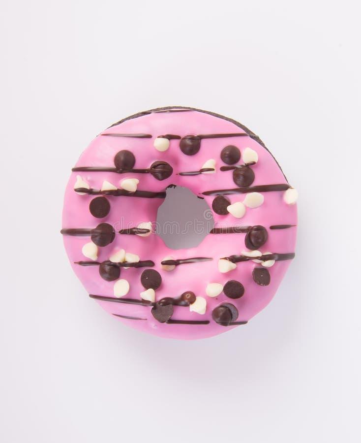 在白色背景的巧克力油炸圈饼 库存图片