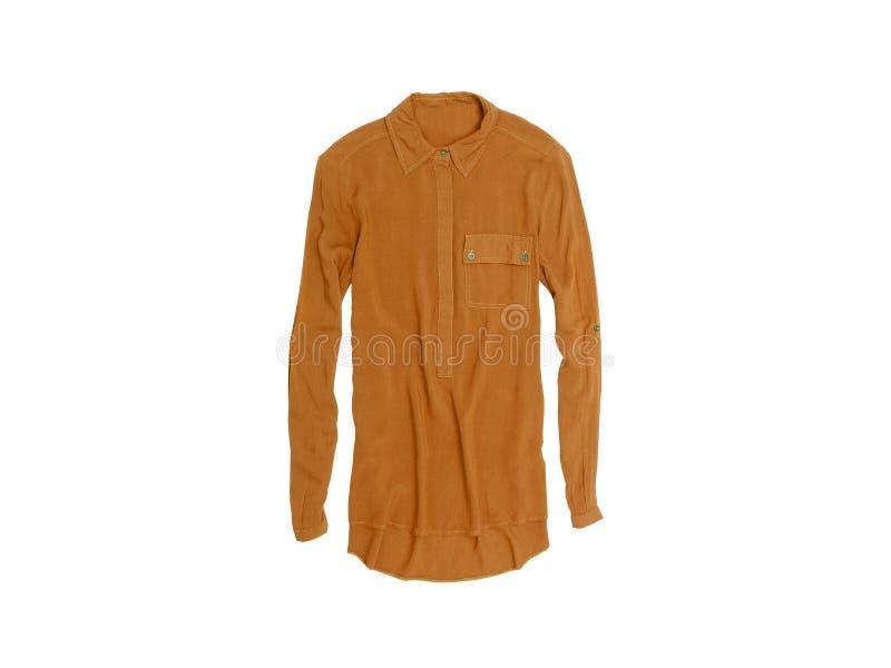 在白色背景的布朗女衬衫 孤立 时兴的概念 库存图片