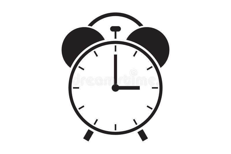 在白色背景的平的闹钟象灰色极谱图片