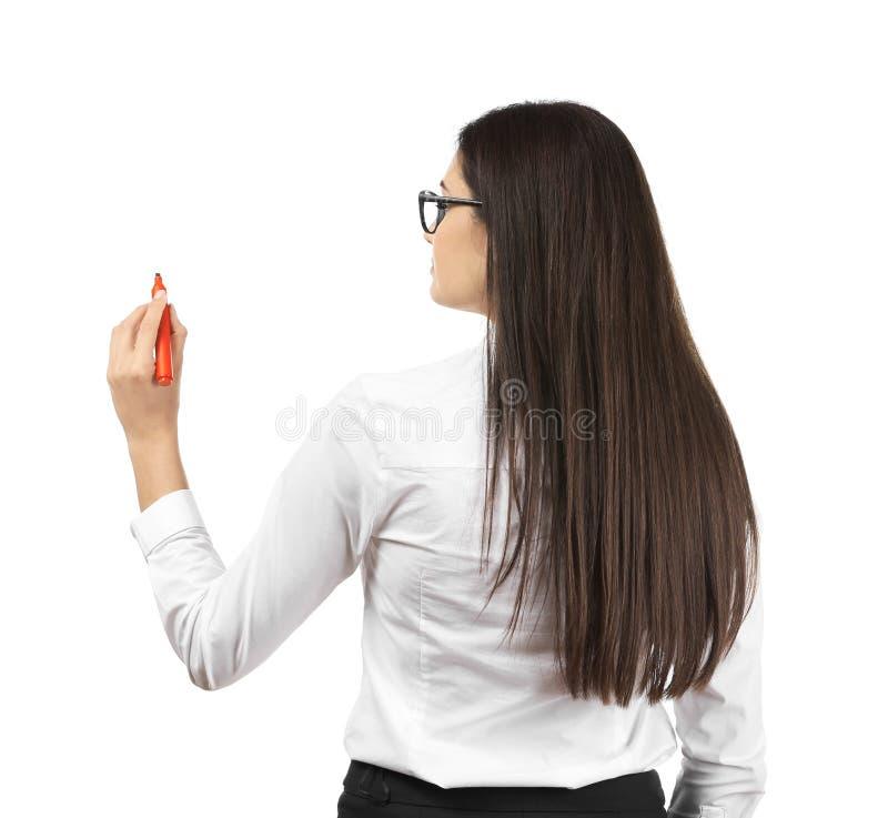 在白色背景的年轻女实业家文字 库存照片