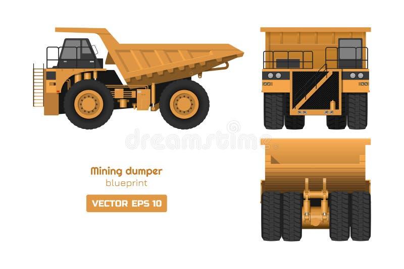 在白色背景的开采的倾销者 边和正面图 重型卡车图象 货物汽车工业3d图画  皇族释放例证