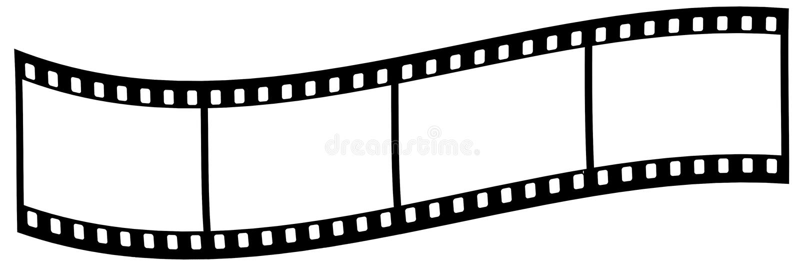在白色背景的弯曲的影片小条 库存例证