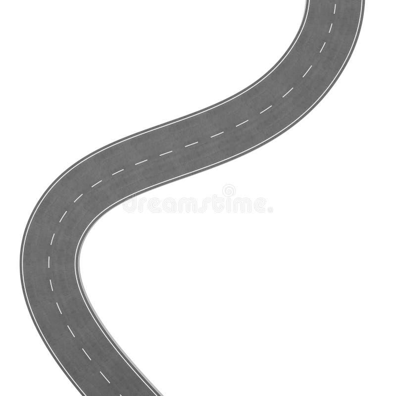 在白色背景的弯曲道路 路线地点infographic模板 弯曲在白色的双向路 库存例证