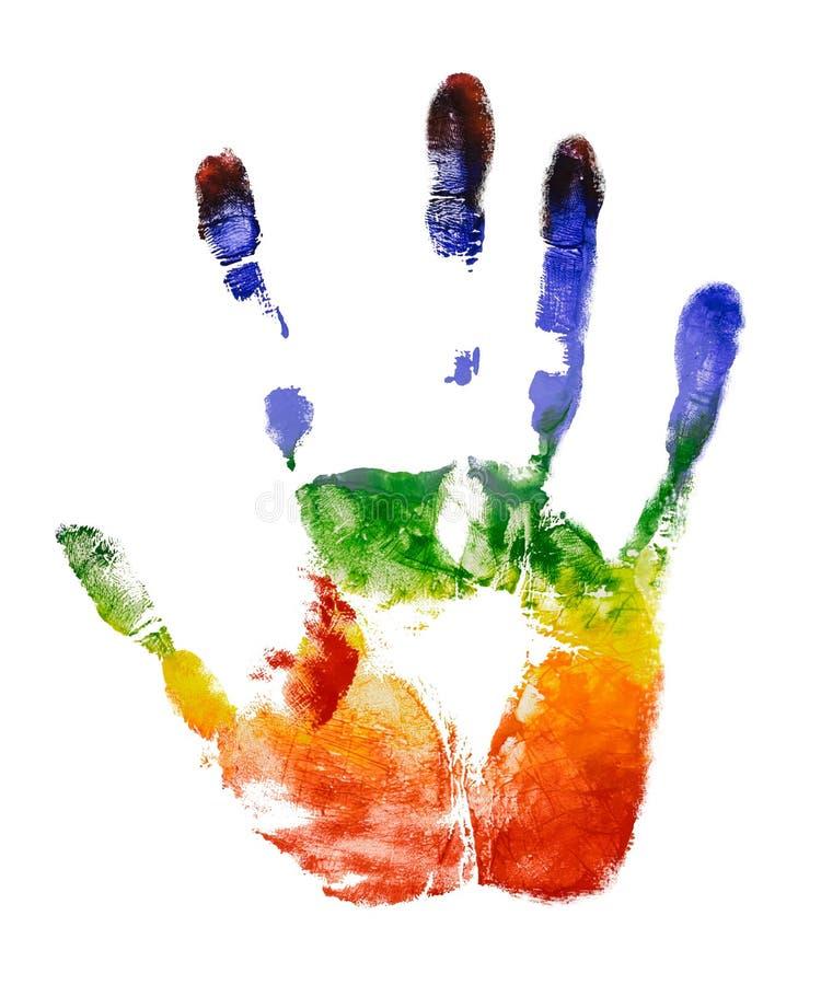 在白色背景的彩虹五颜六色的右手印刷品孤立 免版税库存照片