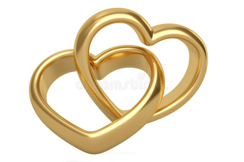 在白色背景的心形的金戒指 3d例证 皇族释放例证