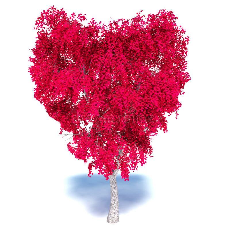 在白色背景的心脏树 向量例证