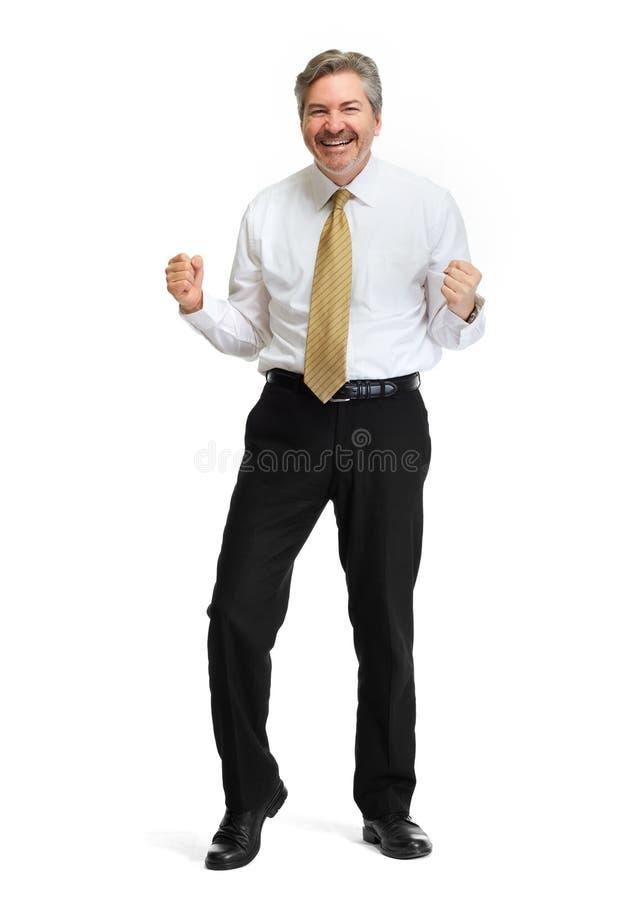 在白色背景的愉快的商人 免版税库存照片