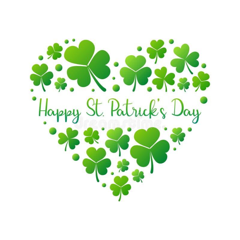 在白色背景的愉快的St Patricks天传染媒介心脏 皇族释放例证