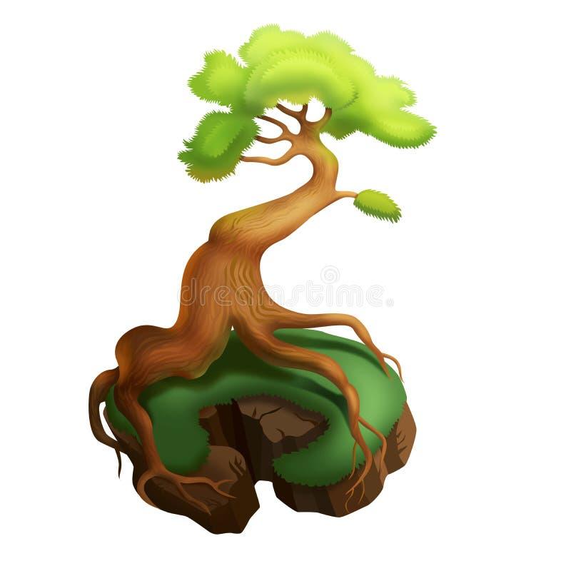 在白色背景的意想不到的树 向量例证