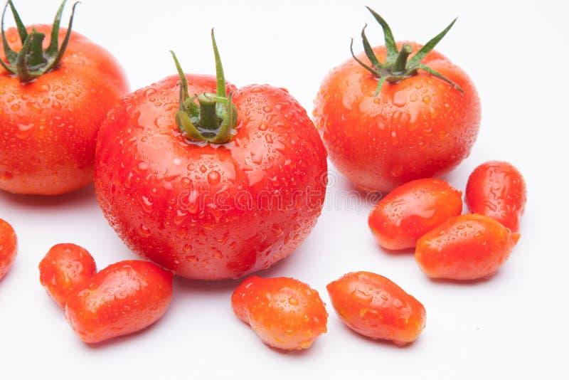 在白色背景的成熟蕃茄 免版税图库摄影