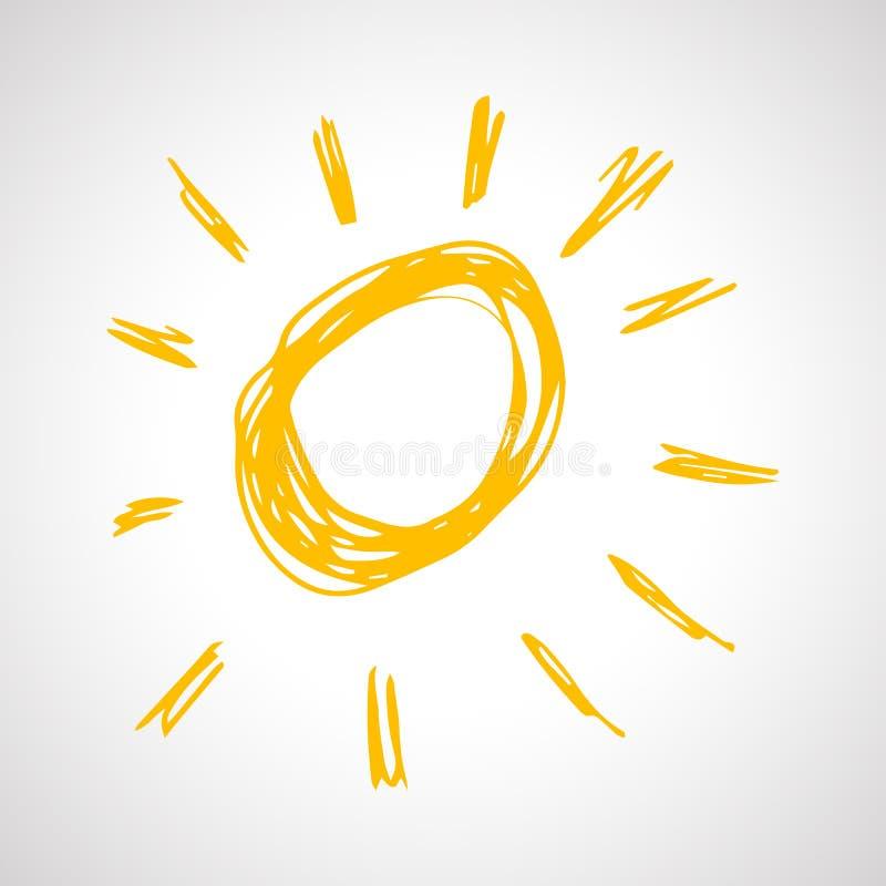 在白色背景的手拉的太阳 向量例证