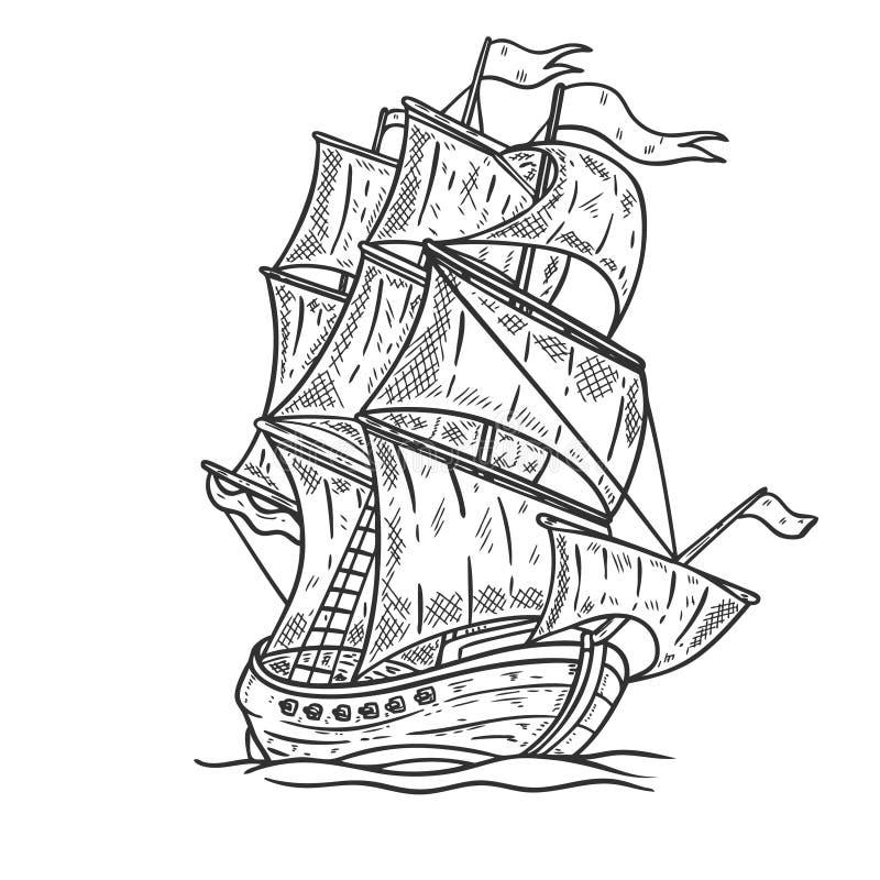 在白色背景的手拉的海船例证 设计海报的,卡片, T恤杉,象征元素 库存例证