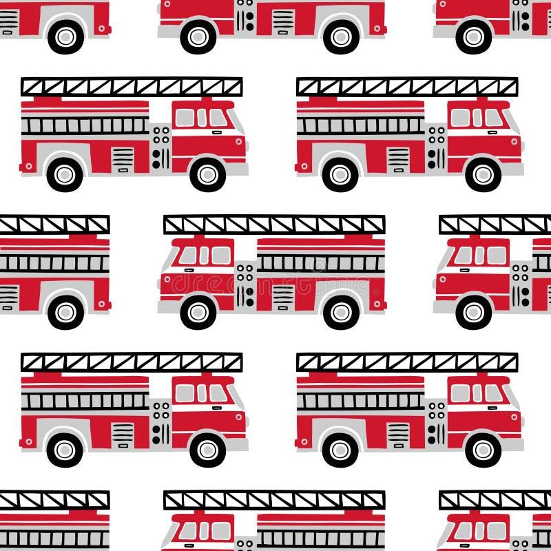 在白色背景的手拉的消防车无缝的传染媒介样式 皇族释放例证