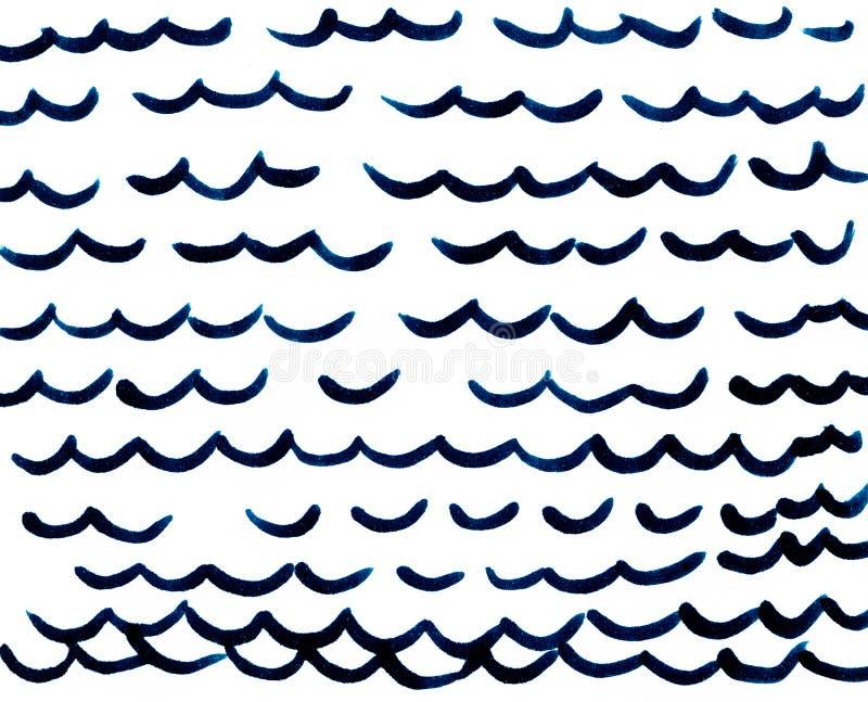 在白色背景的手拉的深蓝波浪 向量例证