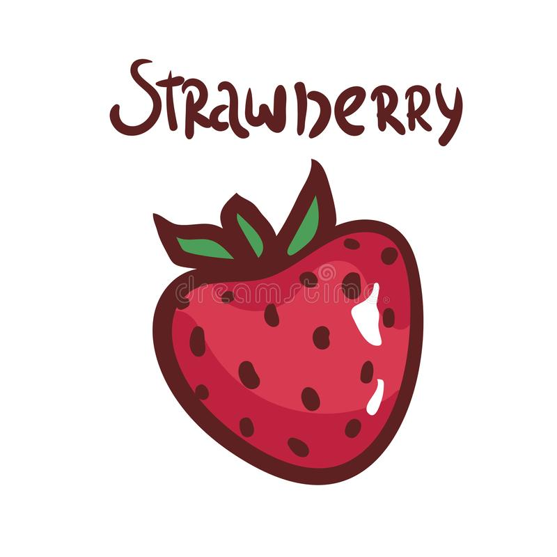 在白色背景的手拉的草莓 莓果的传染媒介例证 象,菜单的,海报例证 查出 向量例证