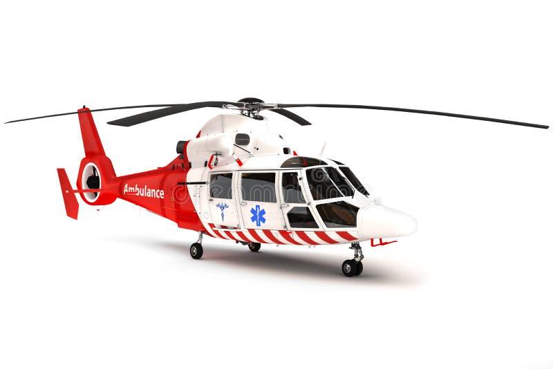 在白色背景的抢救直升机 向量例证
