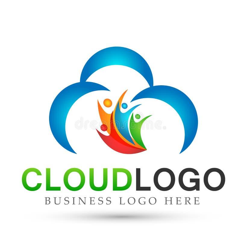 在白色背景的抽象云彩人团队工作联合健康庆祝概念标志象设计传染媒介 皇族释放例证