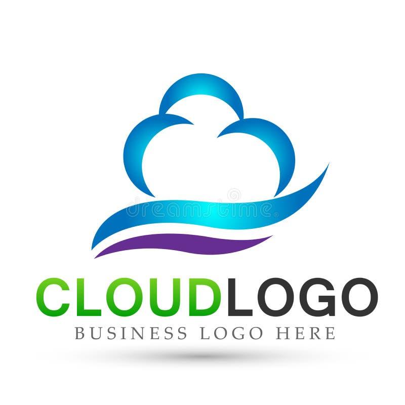 在白色背景的抽象云彩商标概念标志象设计传染媒介 库存例证