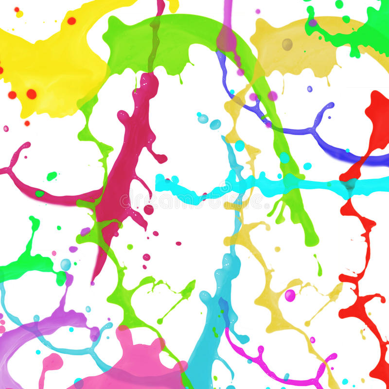 在白色背景的抽象五颜六色的飞溅水彩艺术手油漆 免版税库存照片
