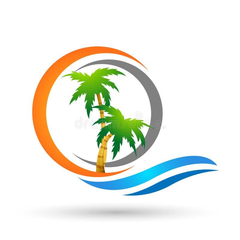 在白色背景的抽象太阳和海波浪椰子棕榈树热带海滩商标元素象设计传染媒介 皇族释放例证