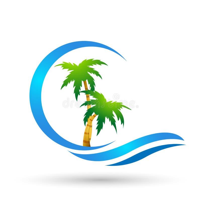 在白色背景的抽象太阳和海波浪椰子棕榈树热带海滩商标元素象设计传染媒介 向量例证