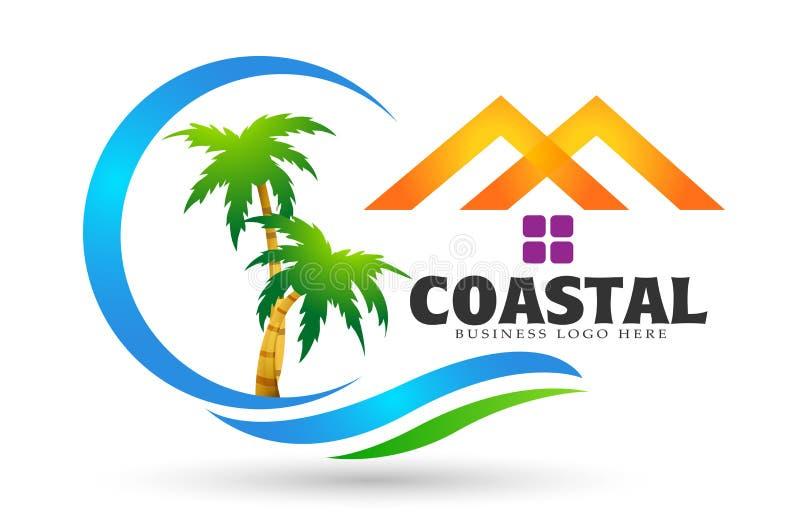 在白色背景的抽象海波浪旅馆旅游业椰子棕榈树热带海滩商标元素象设计传染媒介 皇族释放例证