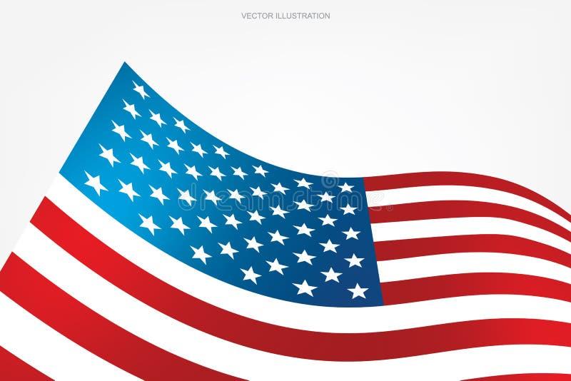 在白色背景的抽象美国国旗与拷贝空间、图形设计和文本的区域 库存例证