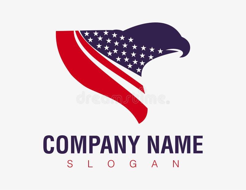 在白色背景的抽象美国国旗老鹰商标 向量例证