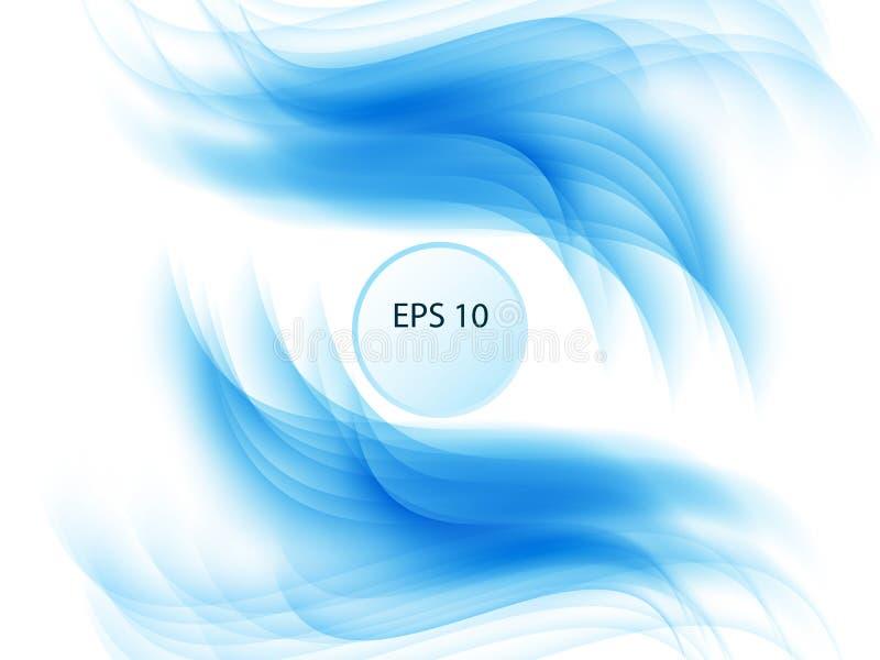 在白色背景的抽象蓝线 线艺术 与使用混合工具被创造的线的五颜六色的发光的波浪 皇族释放例证