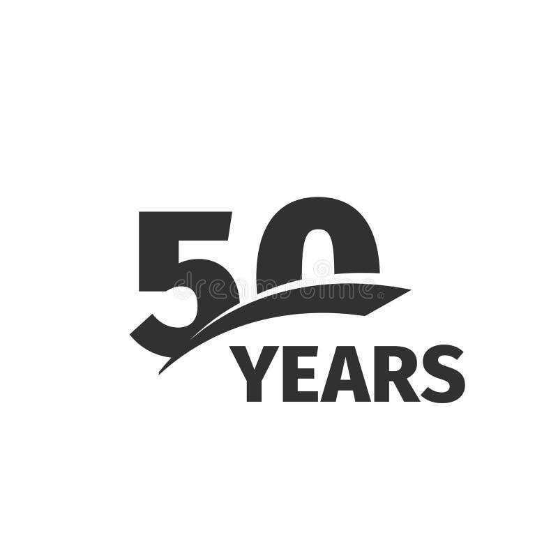 在白色背景的抽象黑色第50周年商标 50个数字略写法 五十年周年纪念庆祝 库存例证