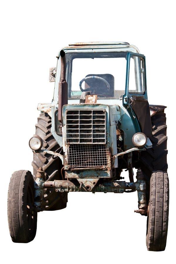 在白色背景的拖拉机 免版税库存照片