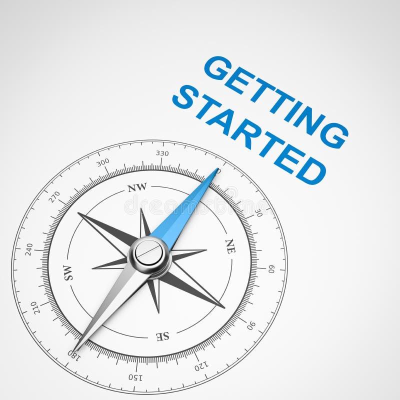 在白色背景的指南针,开始概念 向量例证