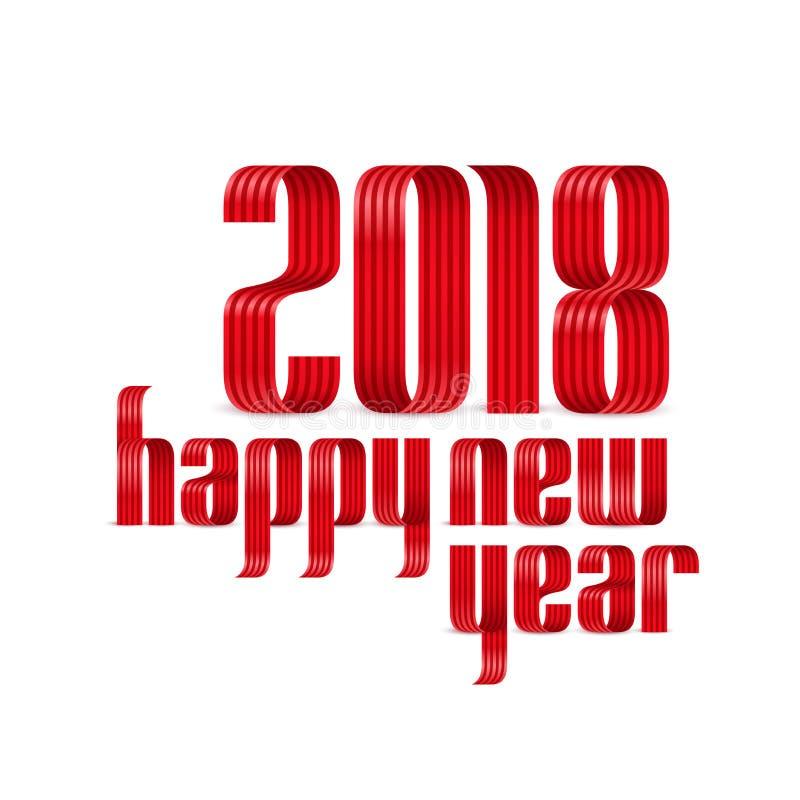 2018在白色背景的新年好红色丝带 皇族释放例证