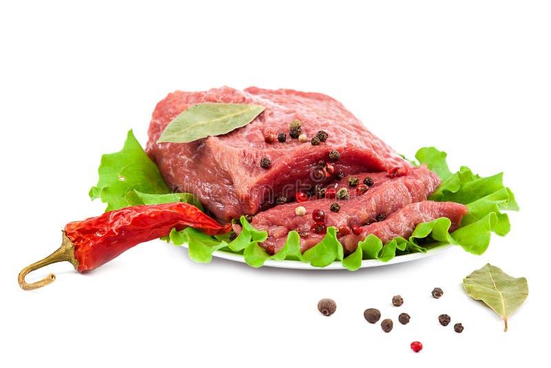 在白色背景的新鲜的生肉 免版税图库摄影