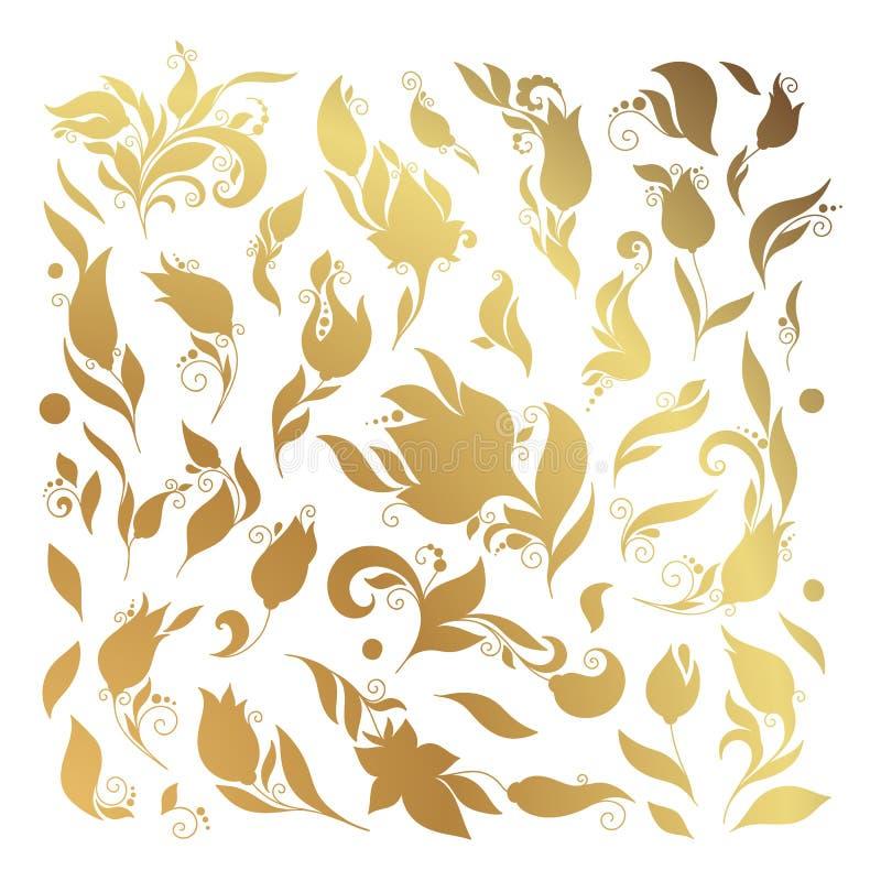 在白色背景的无刺指甲花花卉纹身花刺乱画传染媒介元素 库存例证