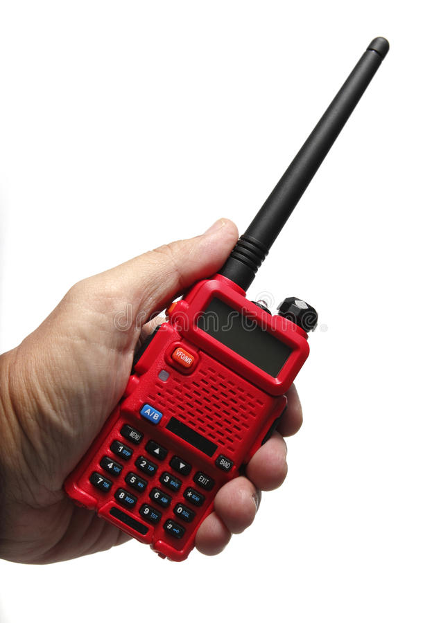 在白色背景的无线电携带无线电话 库存图片