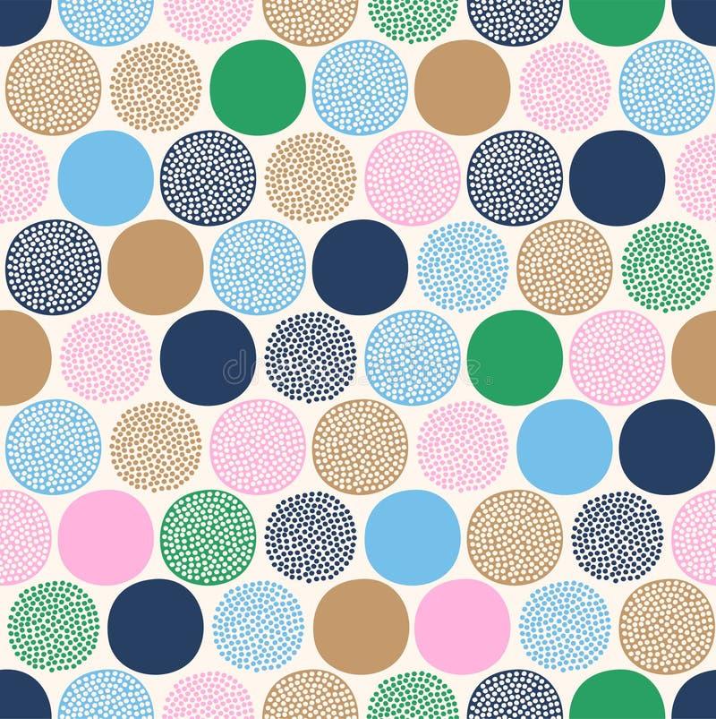 在白色背景的无缝的幼稚抽象五颜六色的光点图形 皇族释放例证