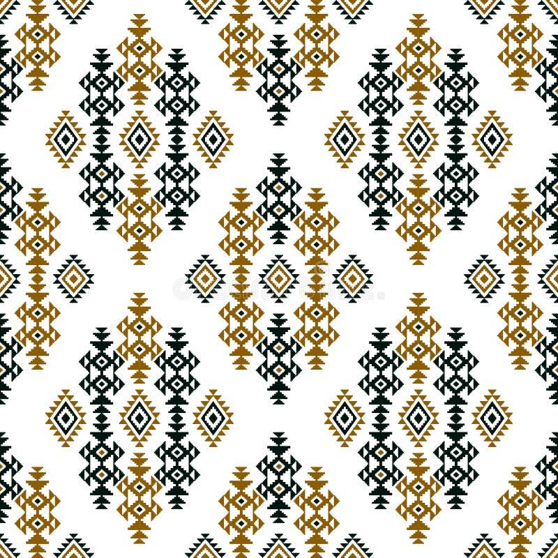 在白色背景的无缝的色的种族设计纺织品的打印 向量例证