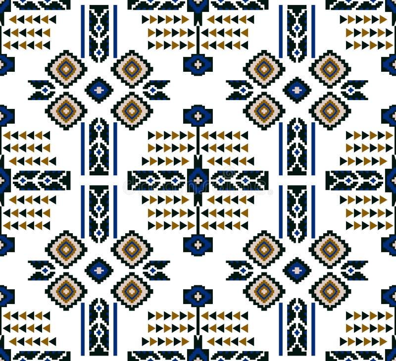 在白色背景的无缝的色的种族设计纺织品的打印 库存例证