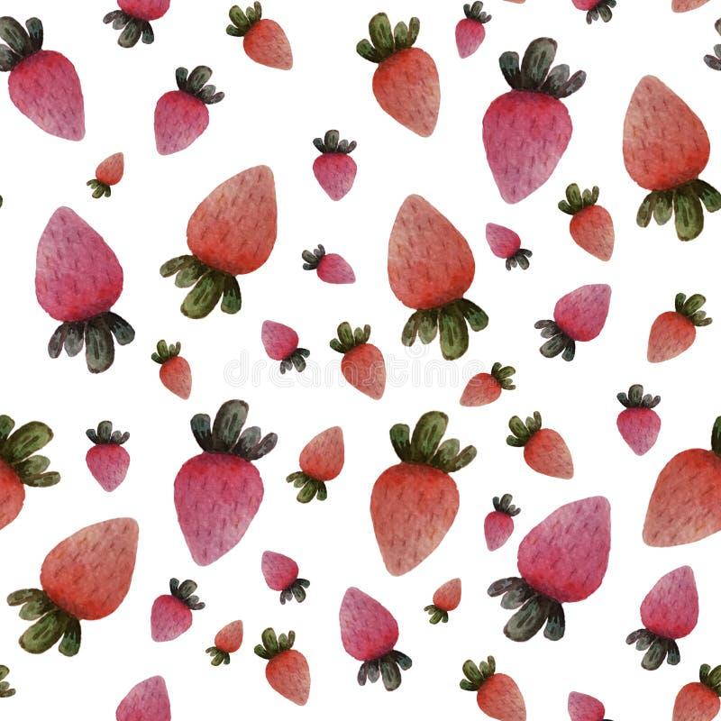 在白色背景的无缝的被隔绝的五颜六色的水彩草莓 向量例证