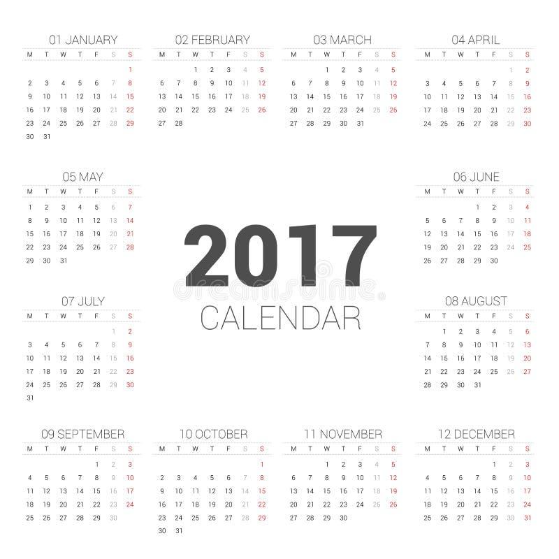 在白色背景的日历2017基本的样式 星期星期一开始 向量例证